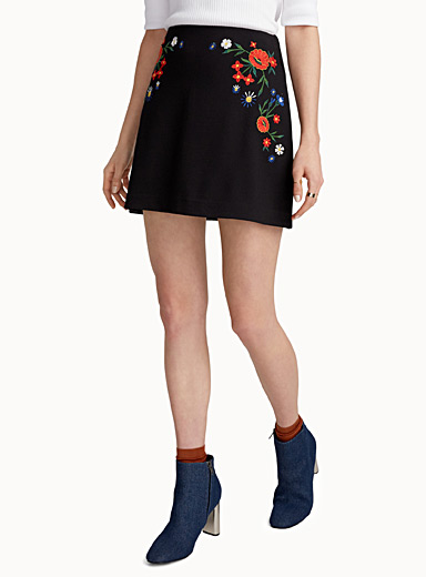 Embroidered wildflower skirt