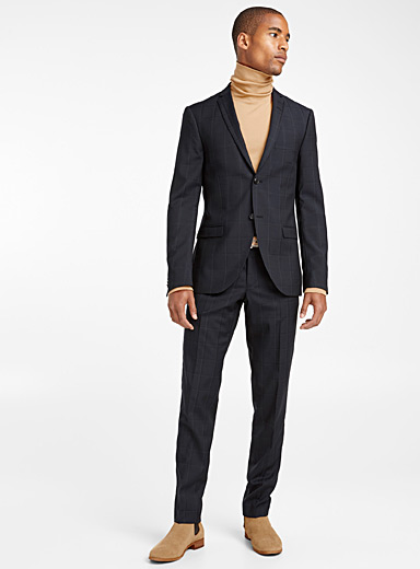 Etched windowpane check suit  Slim fit