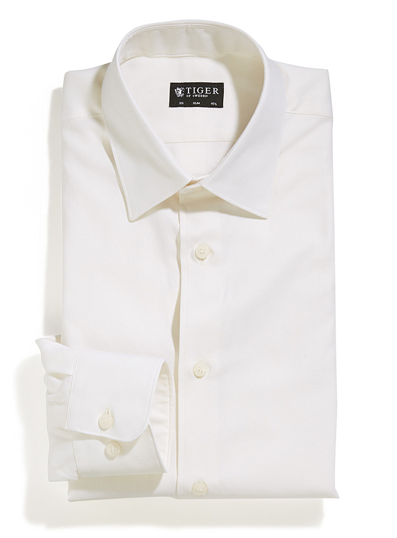 Etched-stripe minimalist shirt  Tailored fit - Slim Fit - Ivory White