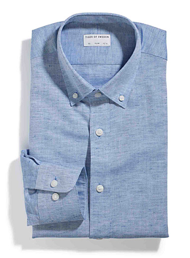 Irregular chambray shirt <br>Tailored fit