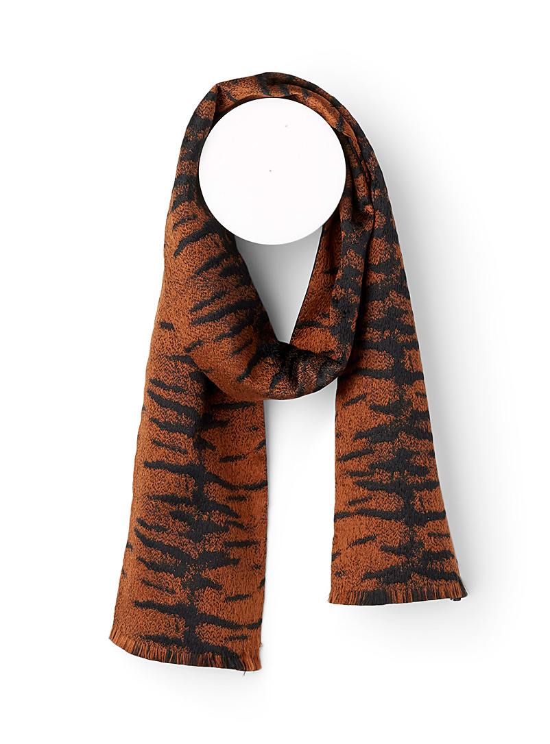 Tiger of Sweden Patterned Black Striped tie-neck scarf for men