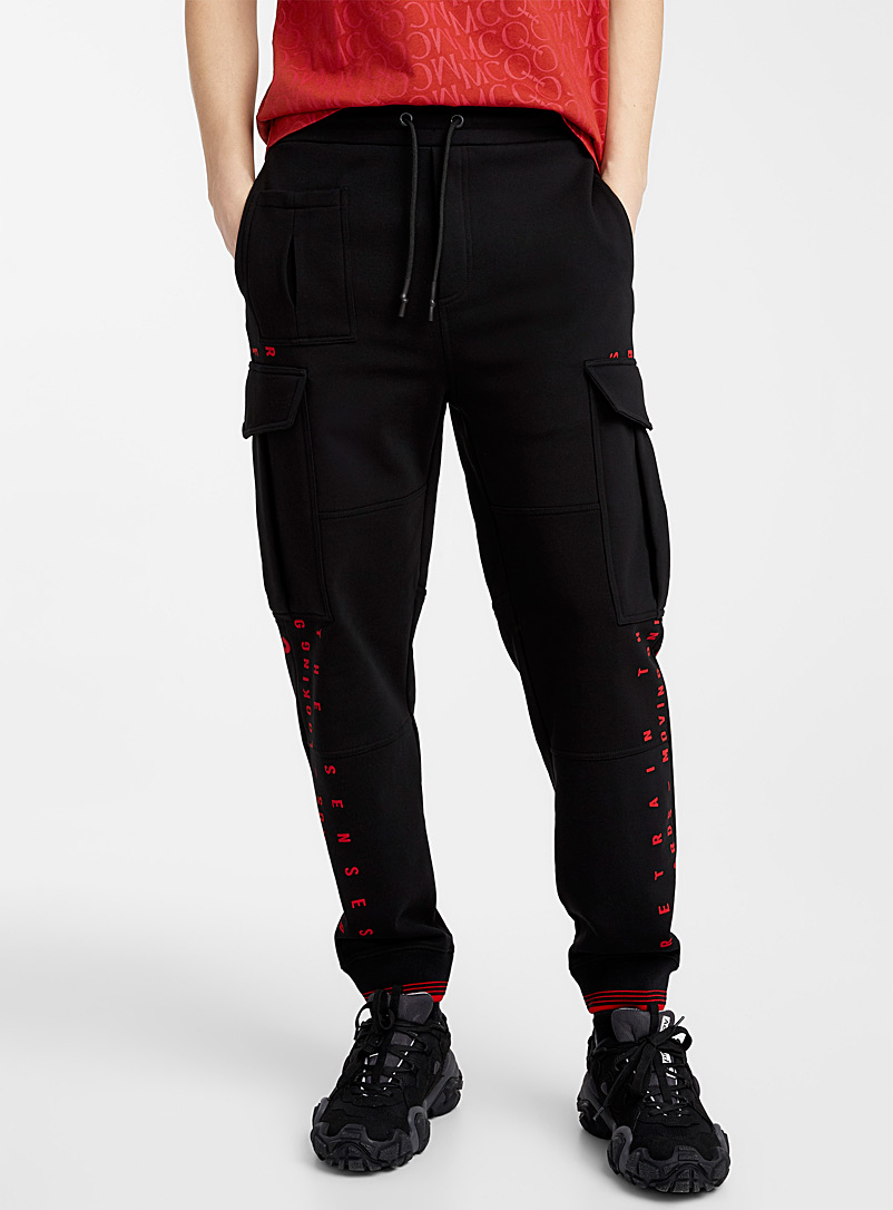 McQ-Alexander McQueen Black Relaxed cargo joggers for men