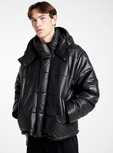 Shiny leather puffer jacket