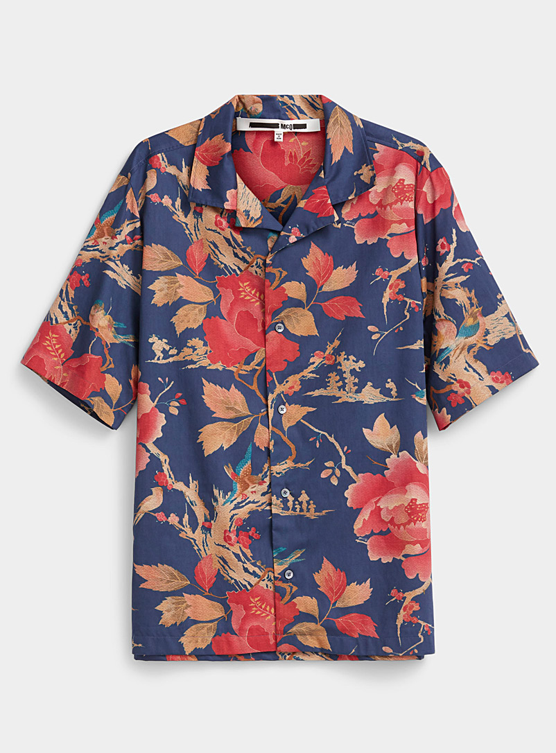 McQ-Alexander McQueen Blue Floral print shirt for men