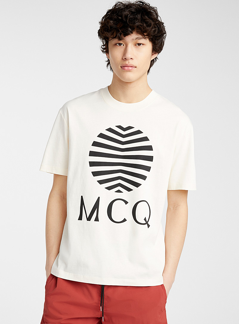 McQ-Alexander McQueen Ivory White Signature print T-shirt for men