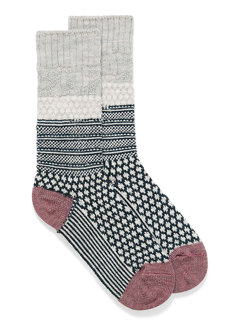 Smartwool Light Grey Cable Popcorn knit socks for women