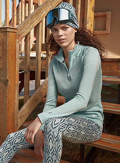 Merino wool half-zip top