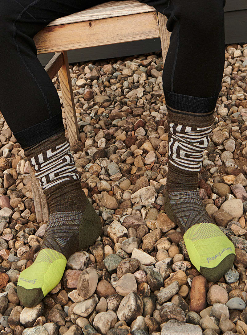 Smartwool Khaki Labyrinth block thermal socks for men