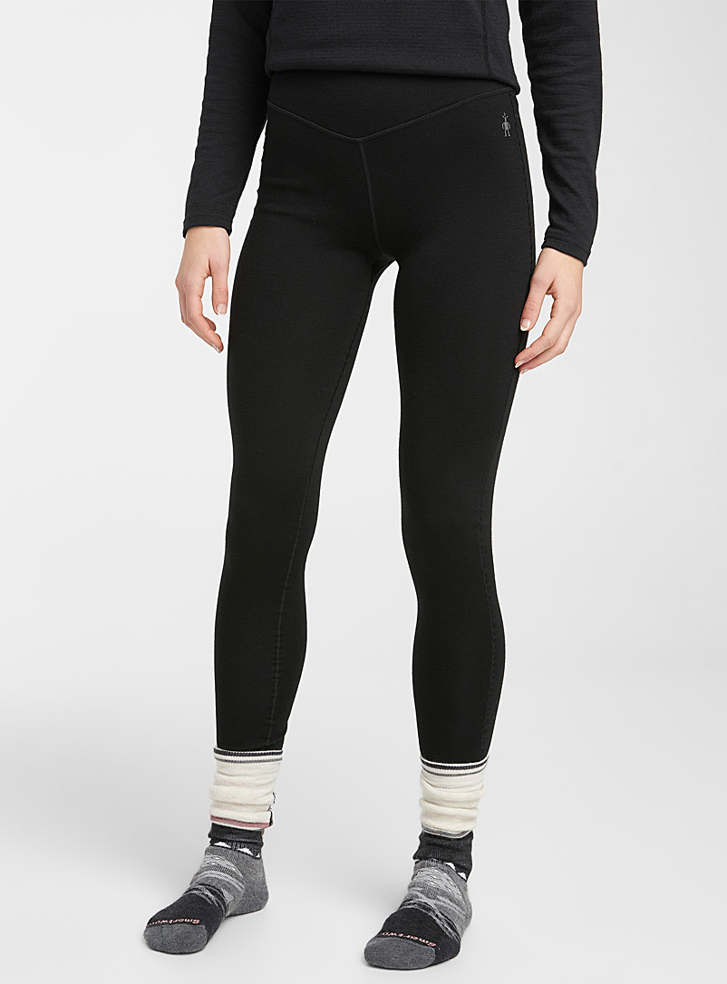 Smartwool Black Solid merino baselayer legging for women