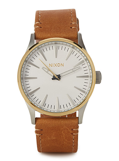 Leather and gold Sentry watch