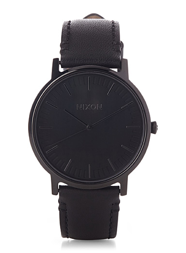 La montre Porter Leather noire