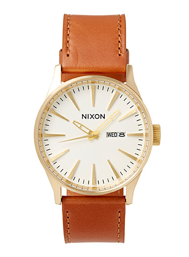 Nixon Patterned Brown Sentry leather watch for men