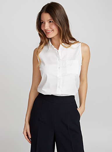Sleeveless cotton sateen shirt