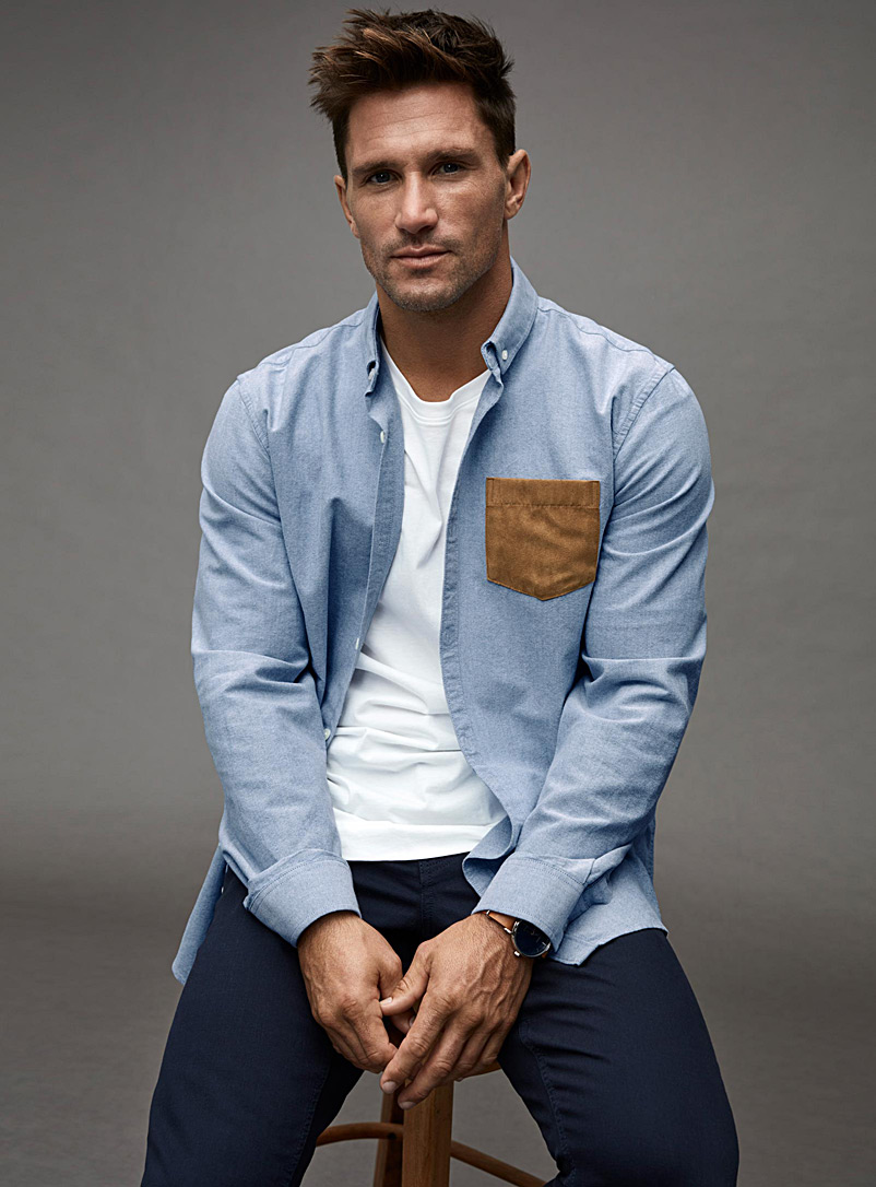 Accent-pocket oxford shirt  Semi-tailored fit - Long sleeves - Sapphire Blue
