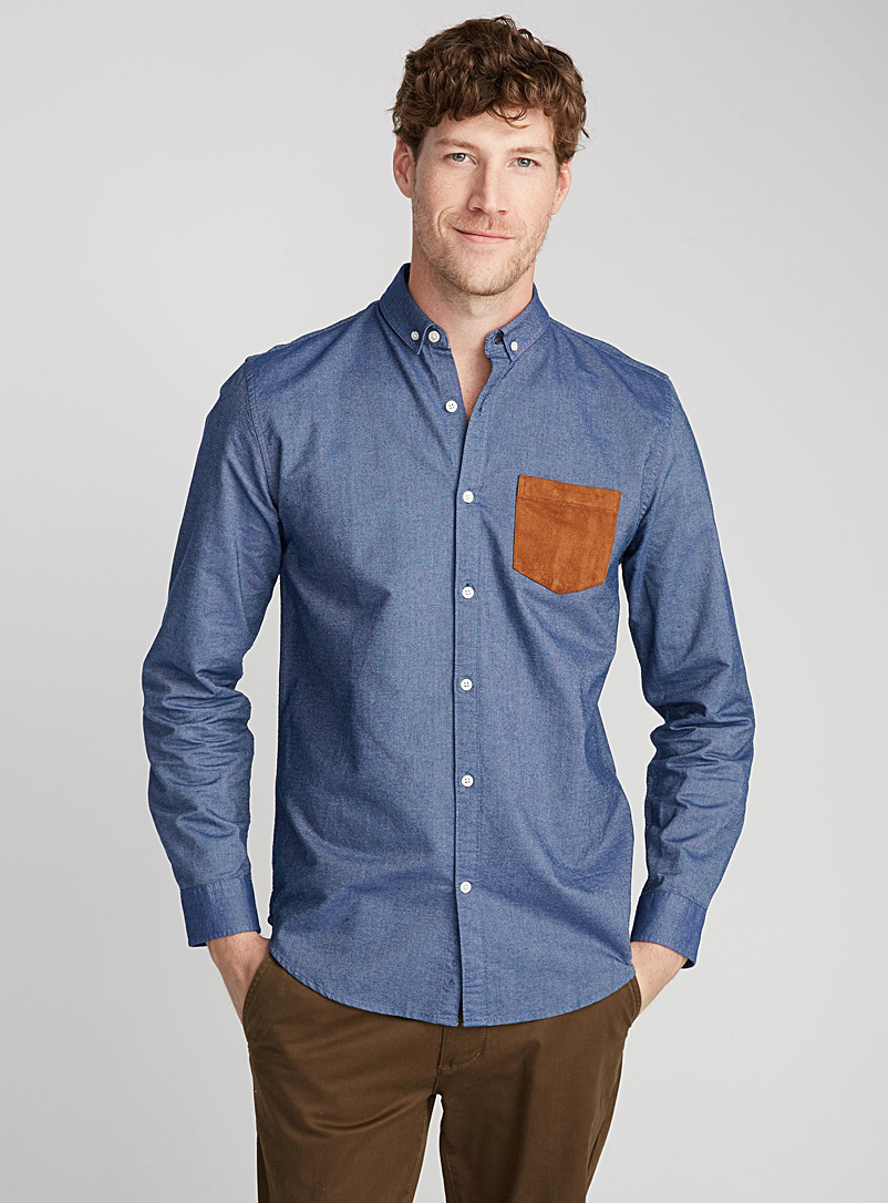 Accent-pocket oxford shirt  Semi-tailored fit - Long sleeves - Slate Blue