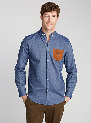 Accent-pocket oxford shirt <br>Semi-tailored fit
