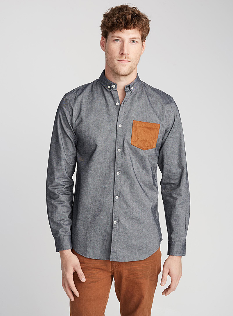 Accent-pocket oxford shirt  Semi-tailored fit - Long sleeves - Dark Grey