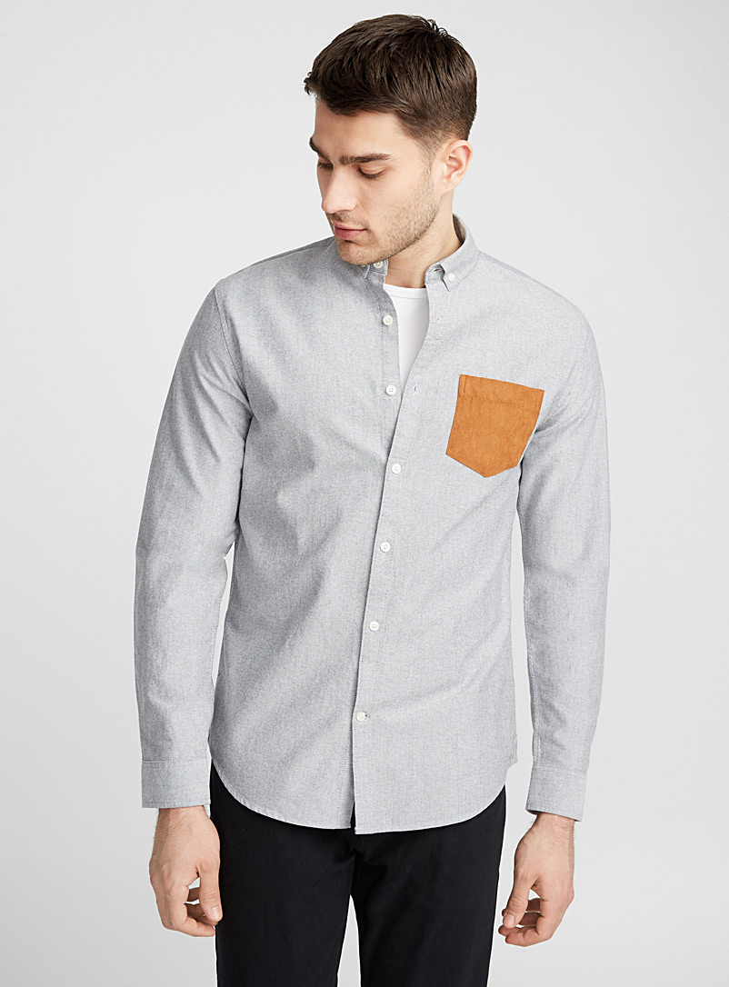 Accent-pocket oxford shirt  Semi-tailored fit - Long sleeves - Light Grey