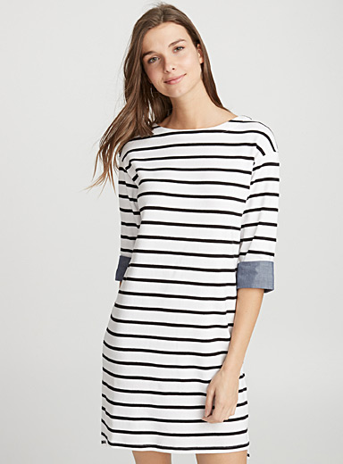 Denim reverse stripe dress