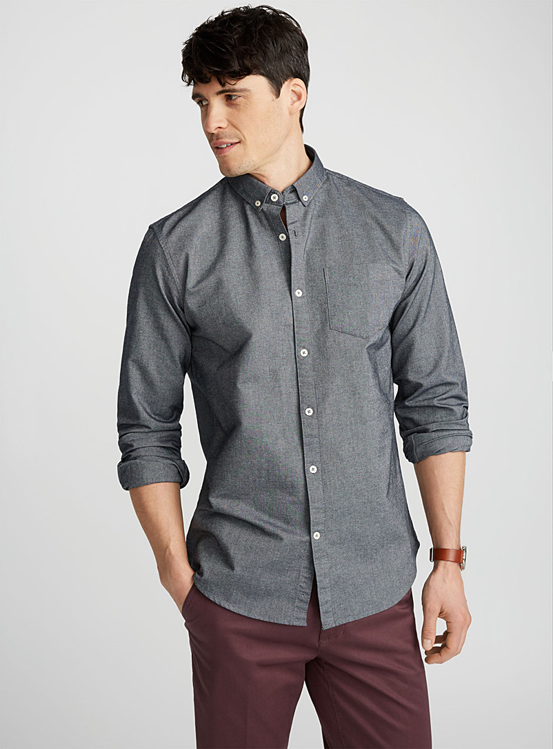 Heritage oxford shirt  Semi-tailored fit - Solid - Charcoal
