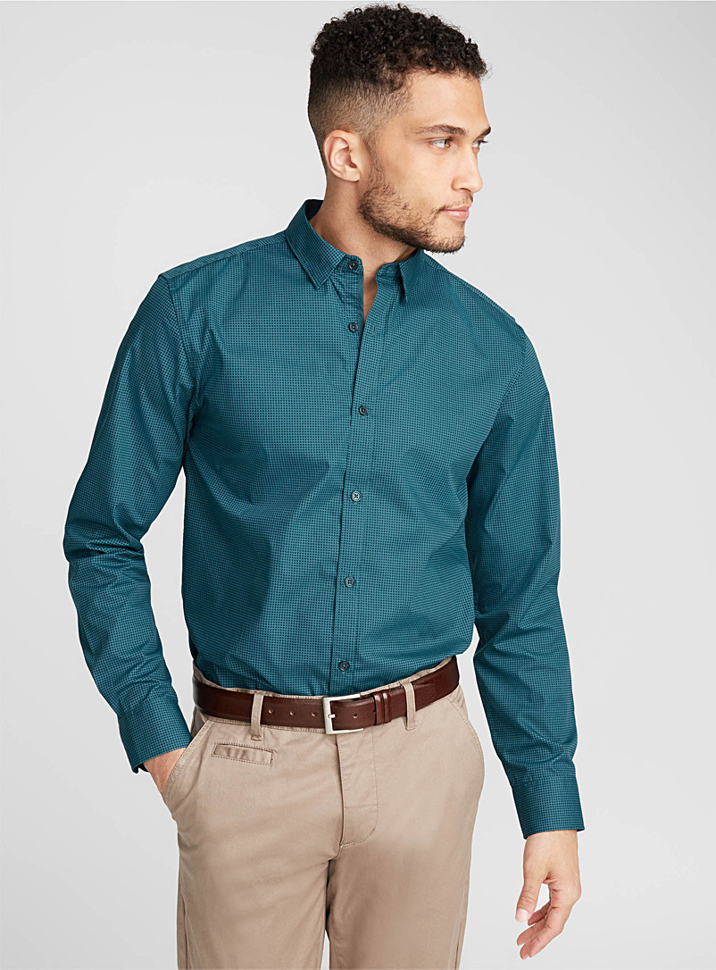Geo weft shirt  Semi-tailored fit - Patterns - Teal