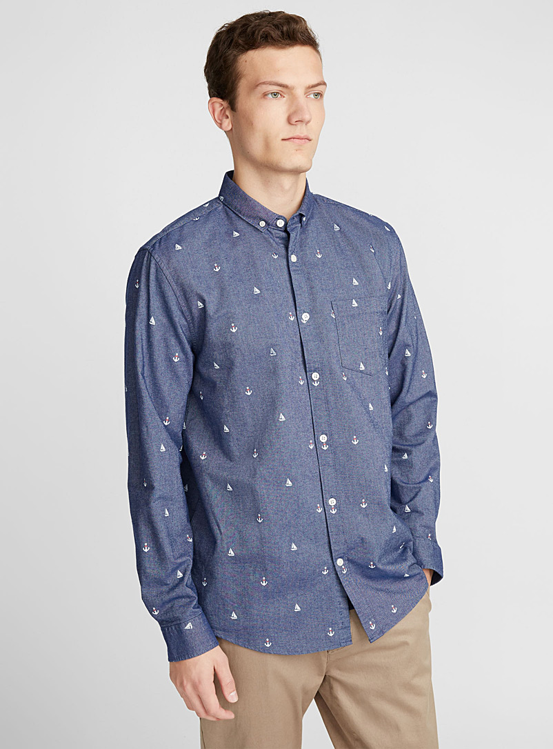 Traced pattern oxford shirt  Semi-tailored fit - Patterns - Blue