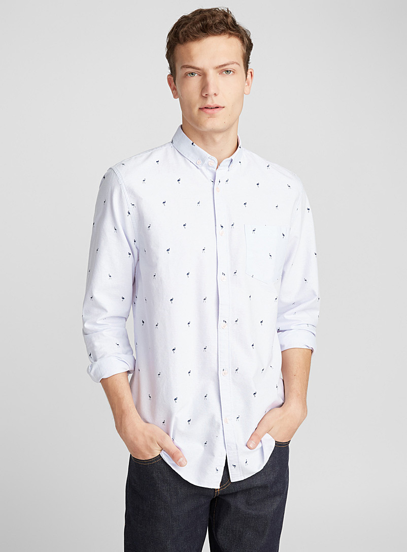 Traced pattern oxford shirt  Semi-tailored fit - Patterns - Lilacs