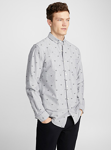 Traced pattern oxford shirt  Semi-tailored fit
