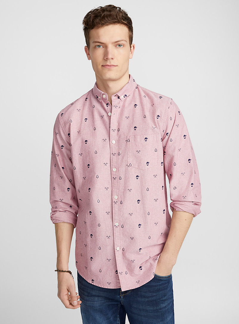 Traced pattern oxford shirt  Semi-tailored fit - Patterns - Red