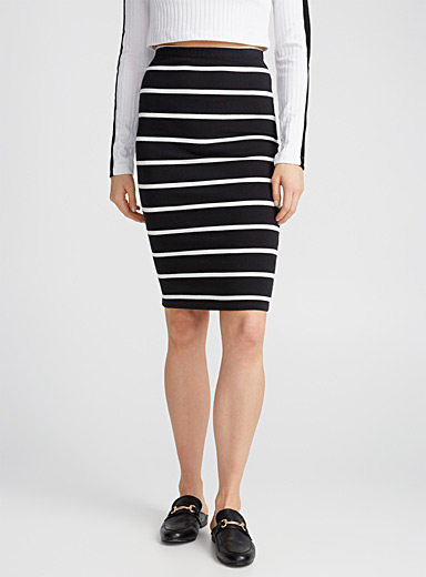 Patterned jersey pencil skirt