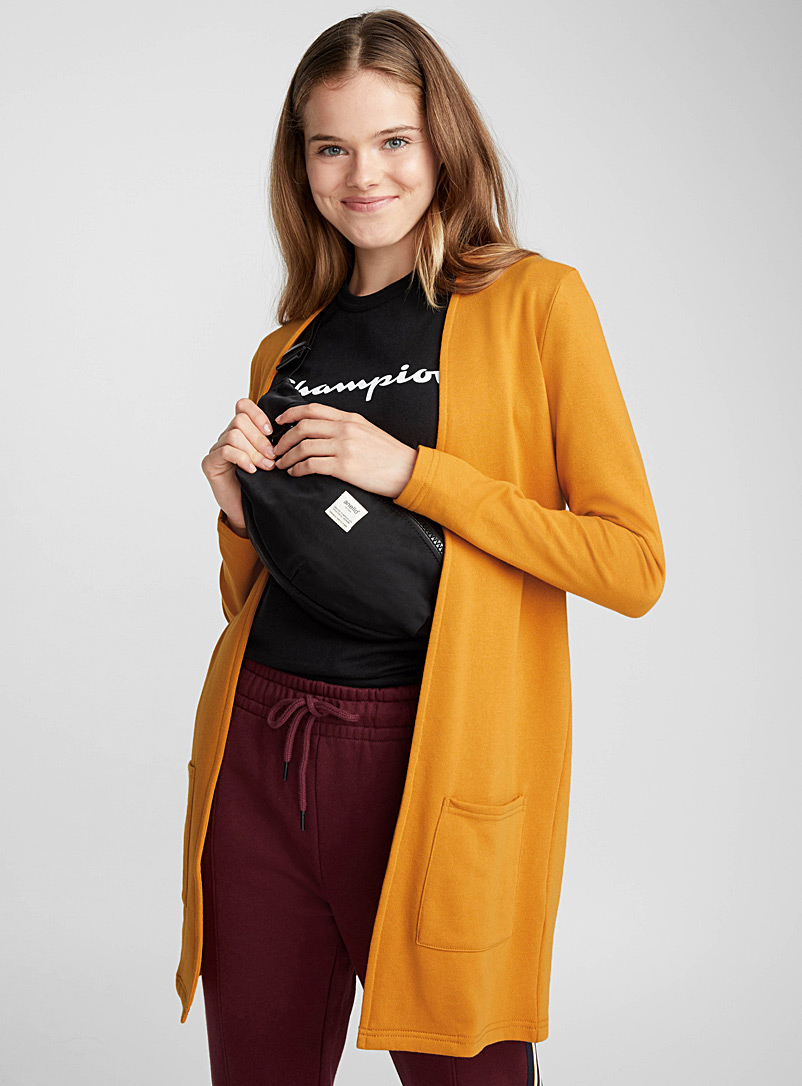 Patch pocket cardigan - Long Sleeves - Golden Yellow
