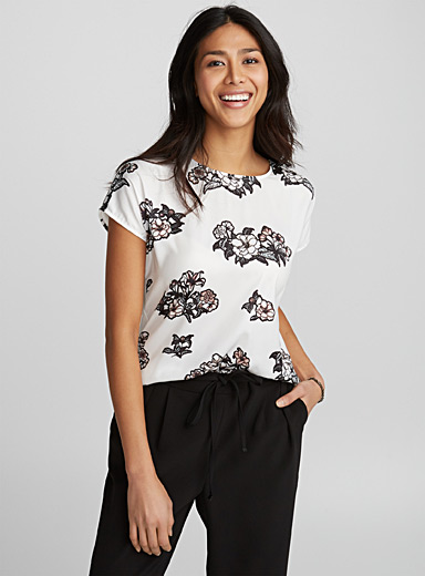 Printed satin-front tee