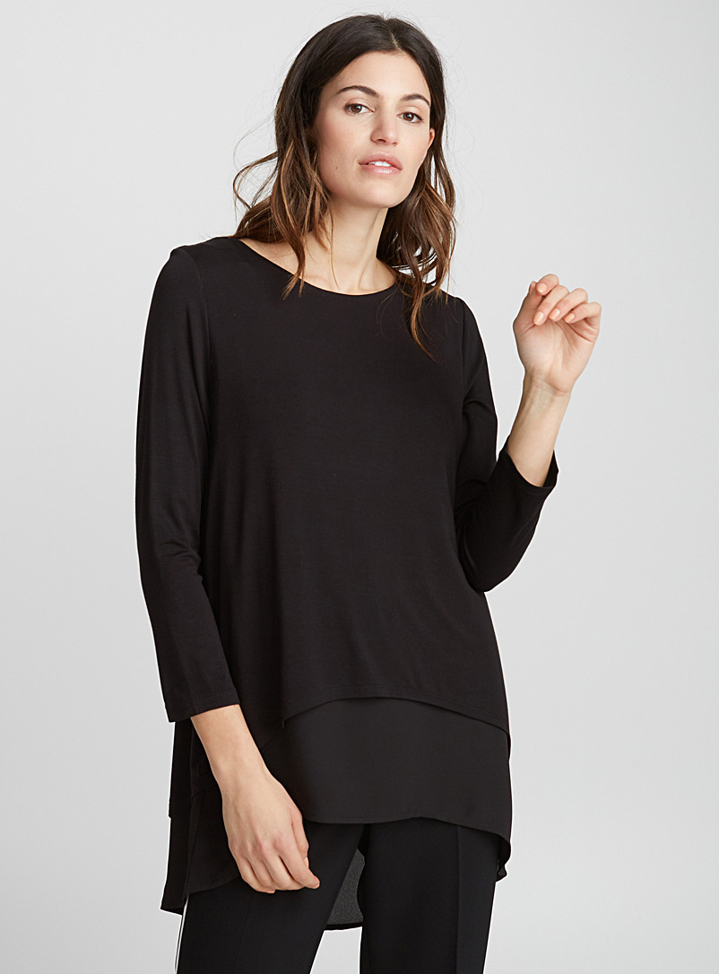 Two-tier mixed media tunic - Long Sleeves - Black