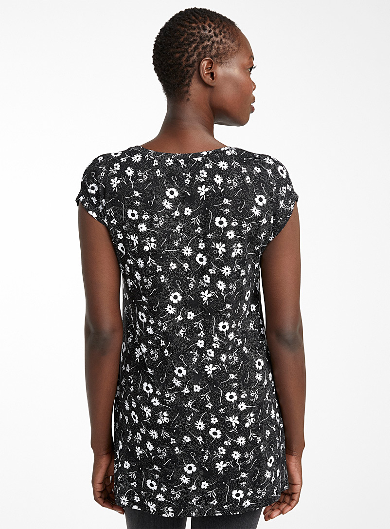 Fluid jersey boxy tunic - Short Sleeves & ¾ Sleeves - Patterned Black