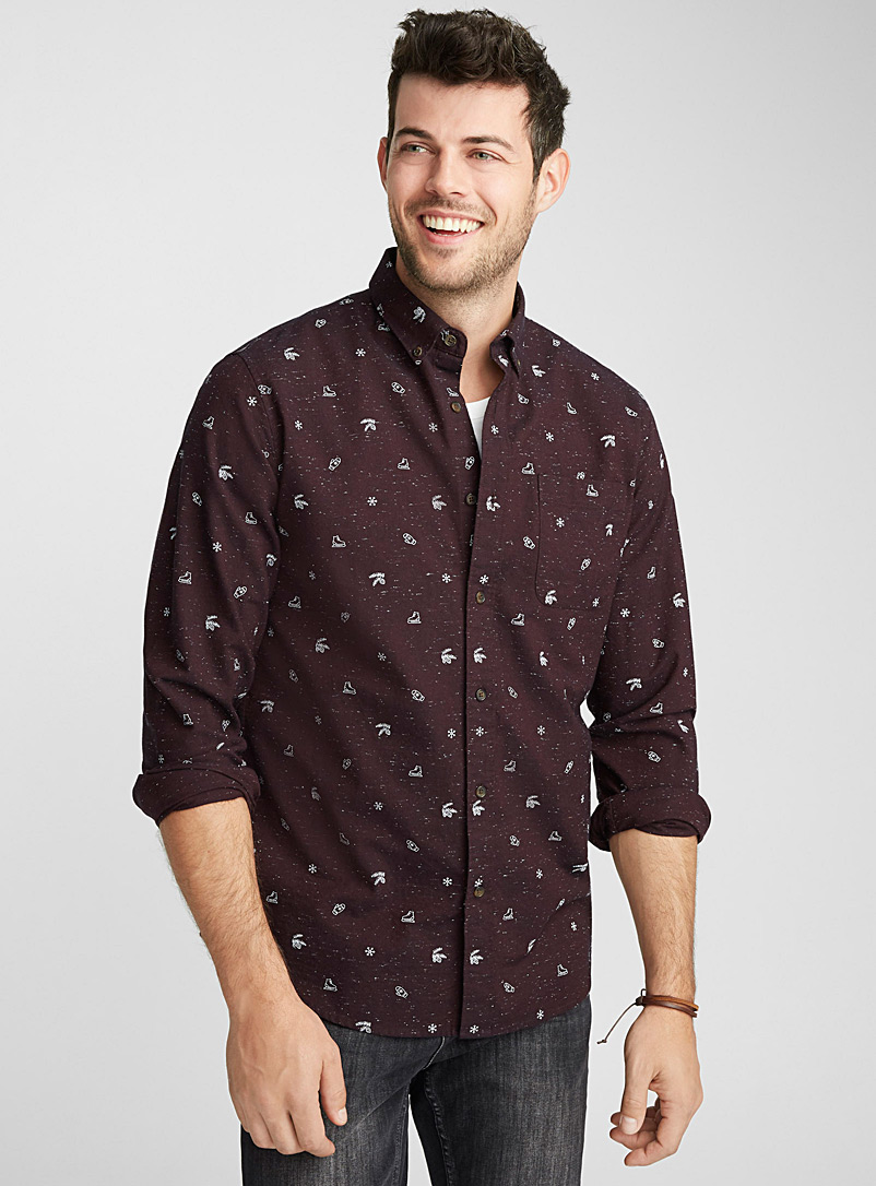 Summer print oxford shirt  Modern fit - Patterns - Ruby Red