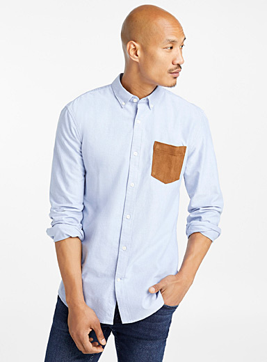 Faux-suede pocket oxford organic cotton shirt  Modern fit