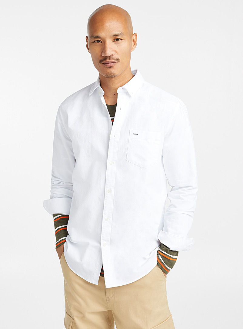 Le 31 White Organic cotton oxford shirt  Modern fit for men