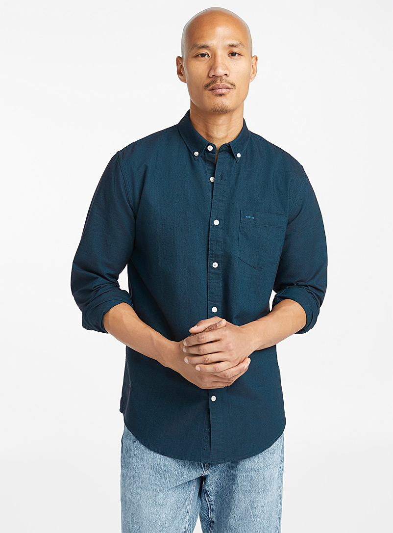 Organic cotton oxford shirt  Modern fit - Solid - Marine Blue