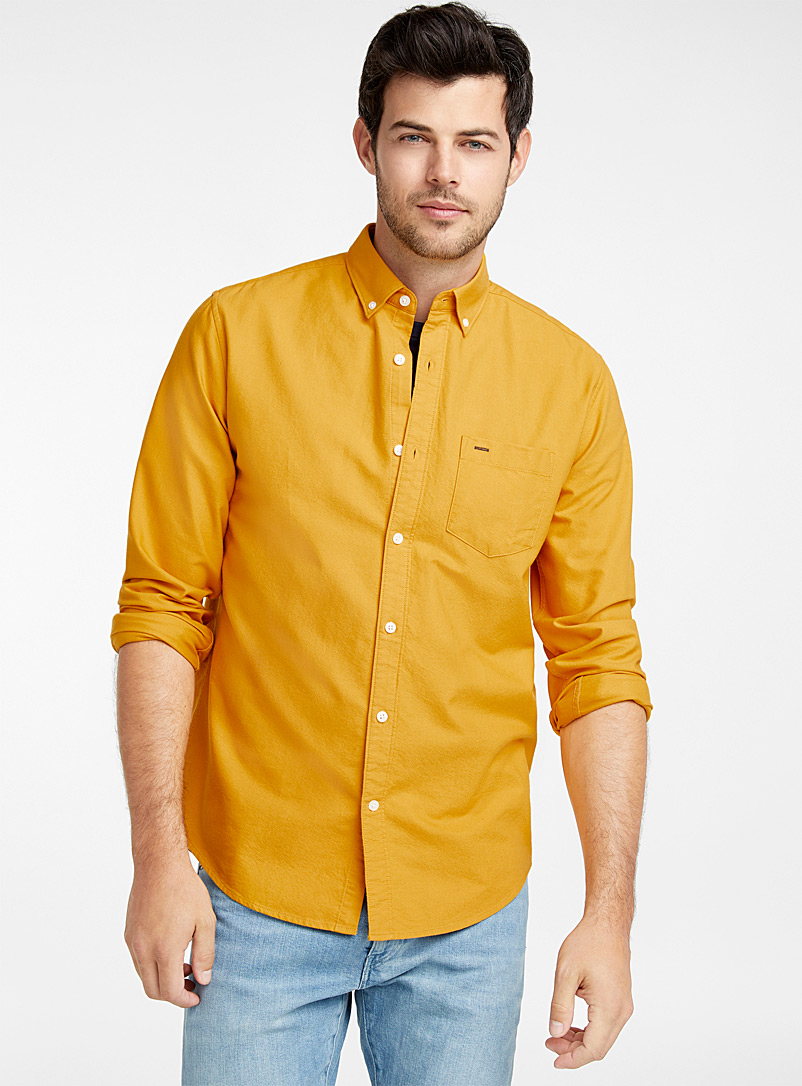Organic cotton oxford shirt  Modern fit - Solid - Medium Yellow