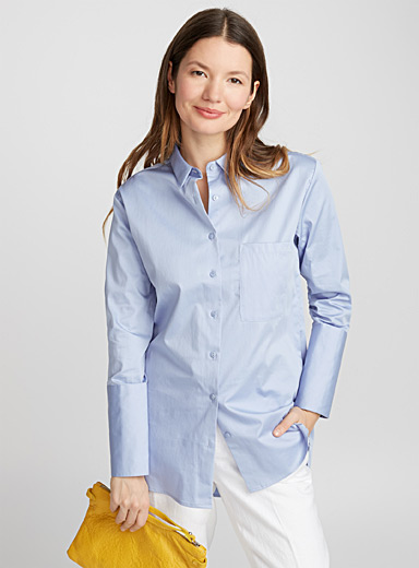 Satiny cotton loose-fit shirt
