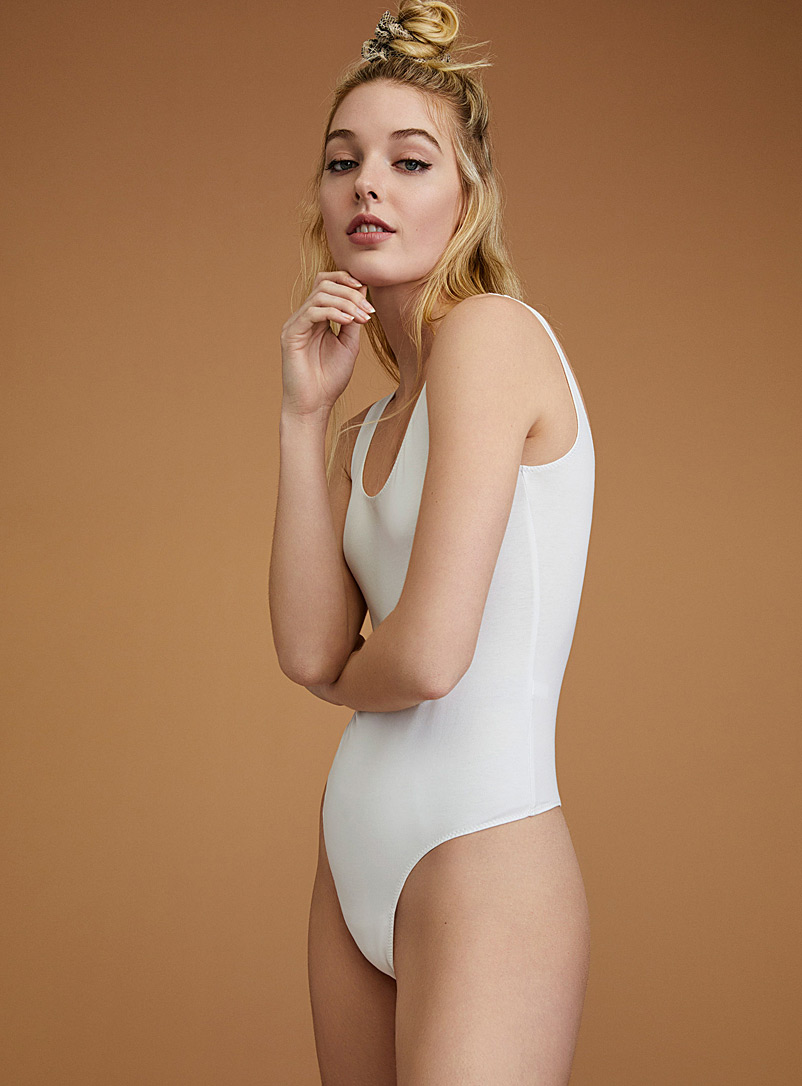 Cami-style solid bodysuit - Bodysuits - White