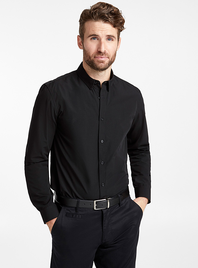 Minimalist solid shirt  Semi-tailored fit - Solid - Black