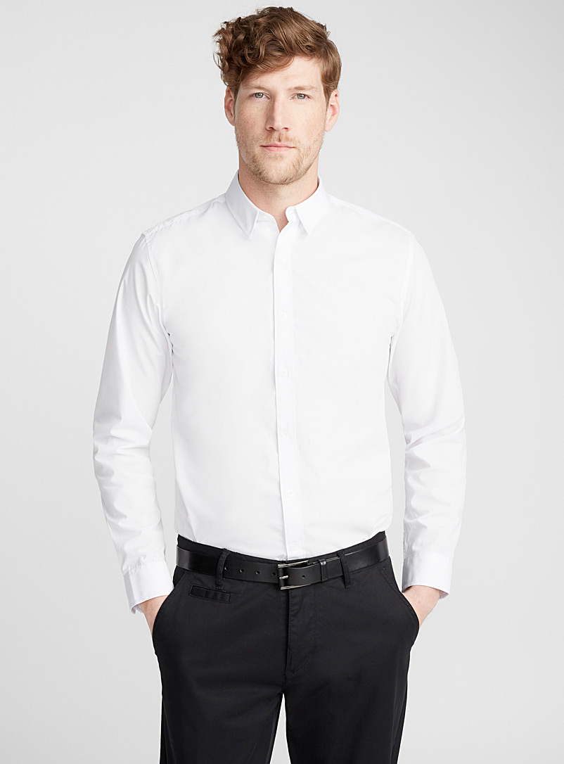 Minimalist solid shirt  Semi-tailored fit - Solid - White
