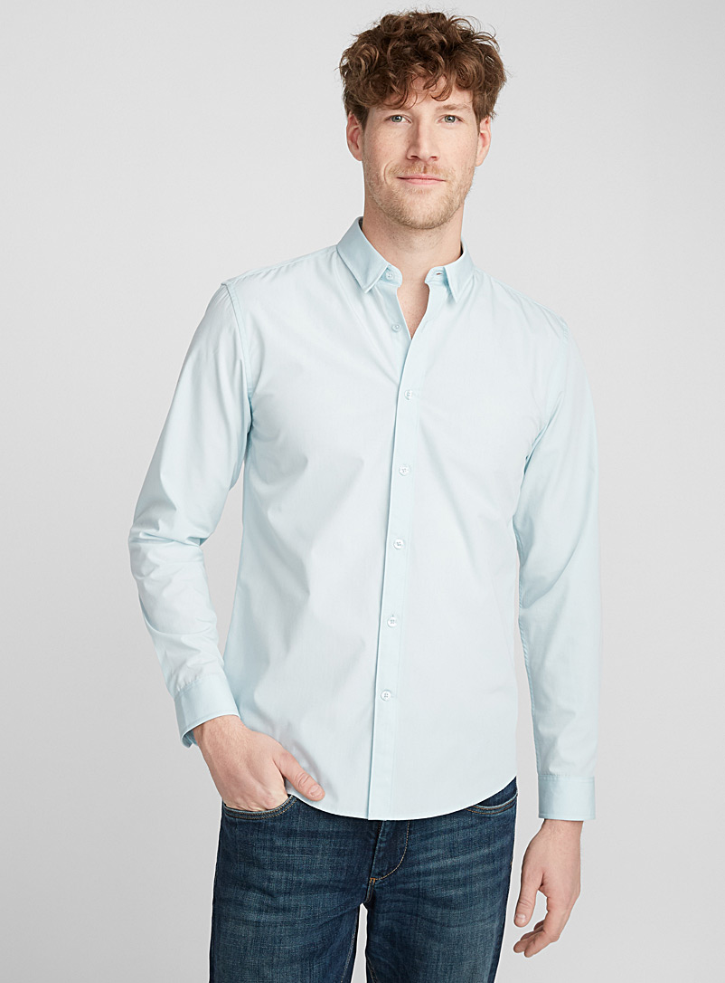 Minimalist solid shirt  Semi-tailored fit - Solid - Lime Green