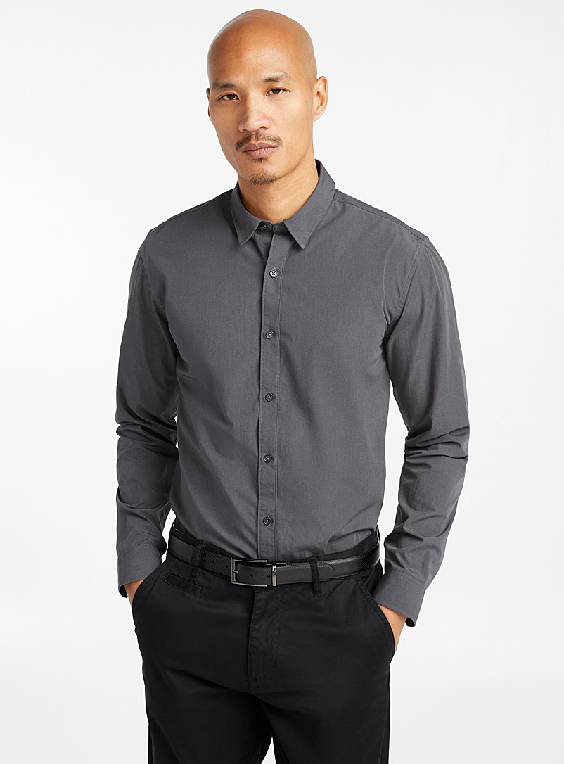 Minimalist solid shirt  Semi-tailored fit - Solid - Grey