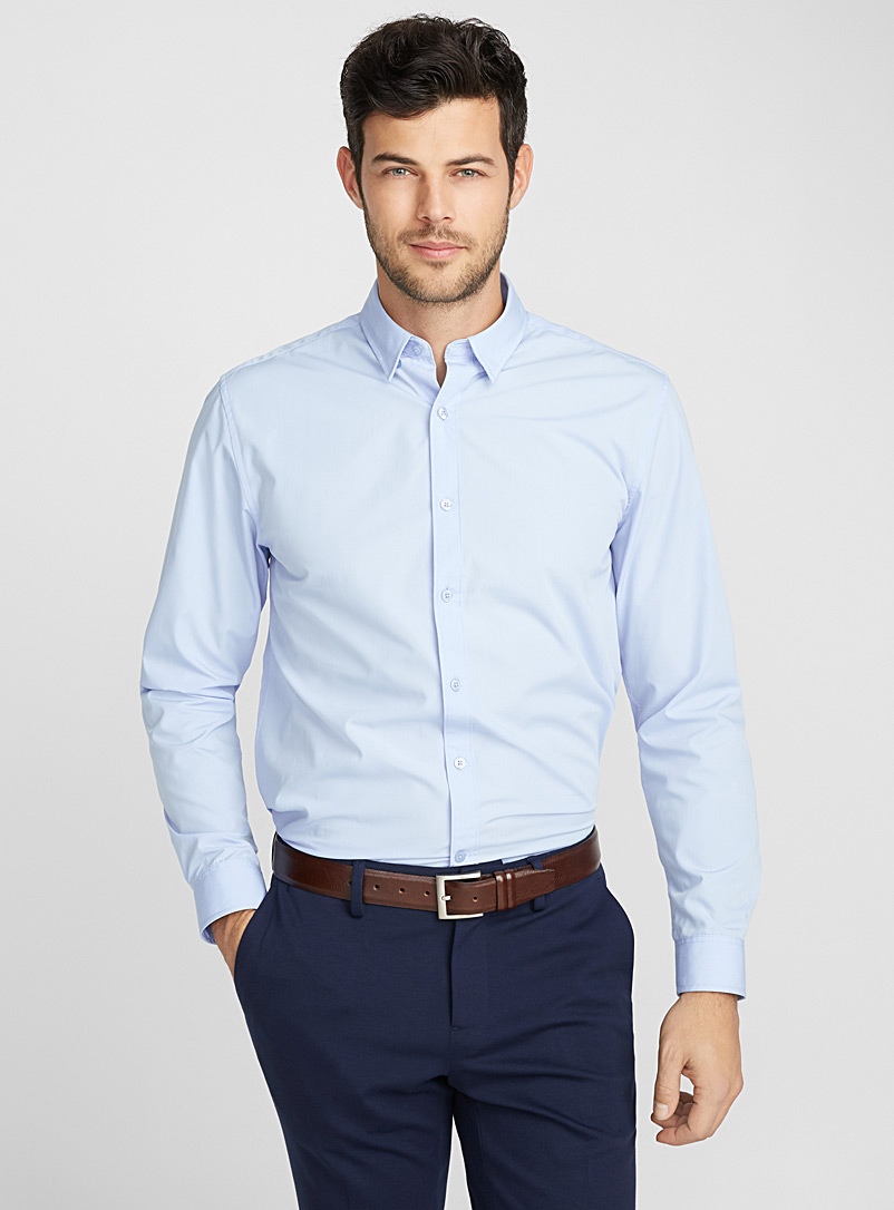 Accent cuff solid shirt  Semi-tailored fit - Solid - Sapphire Blue
