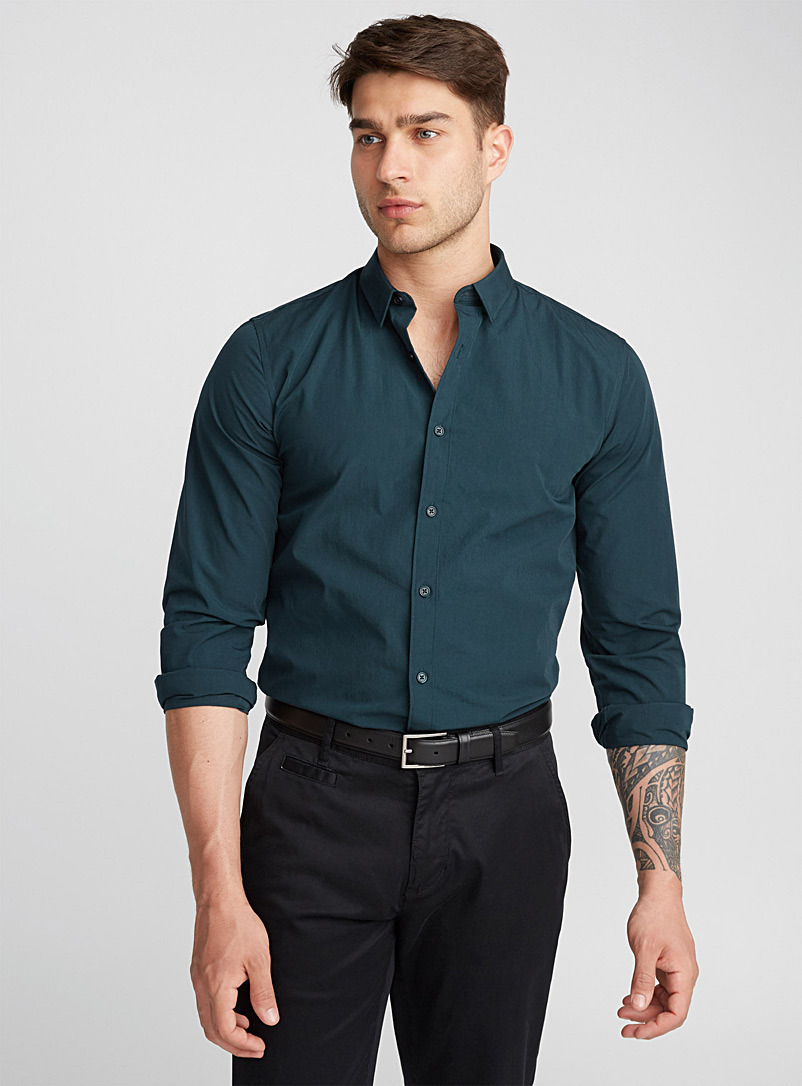 Accent cuff solid shirt  Semi-tailored fit - Solid - Teal