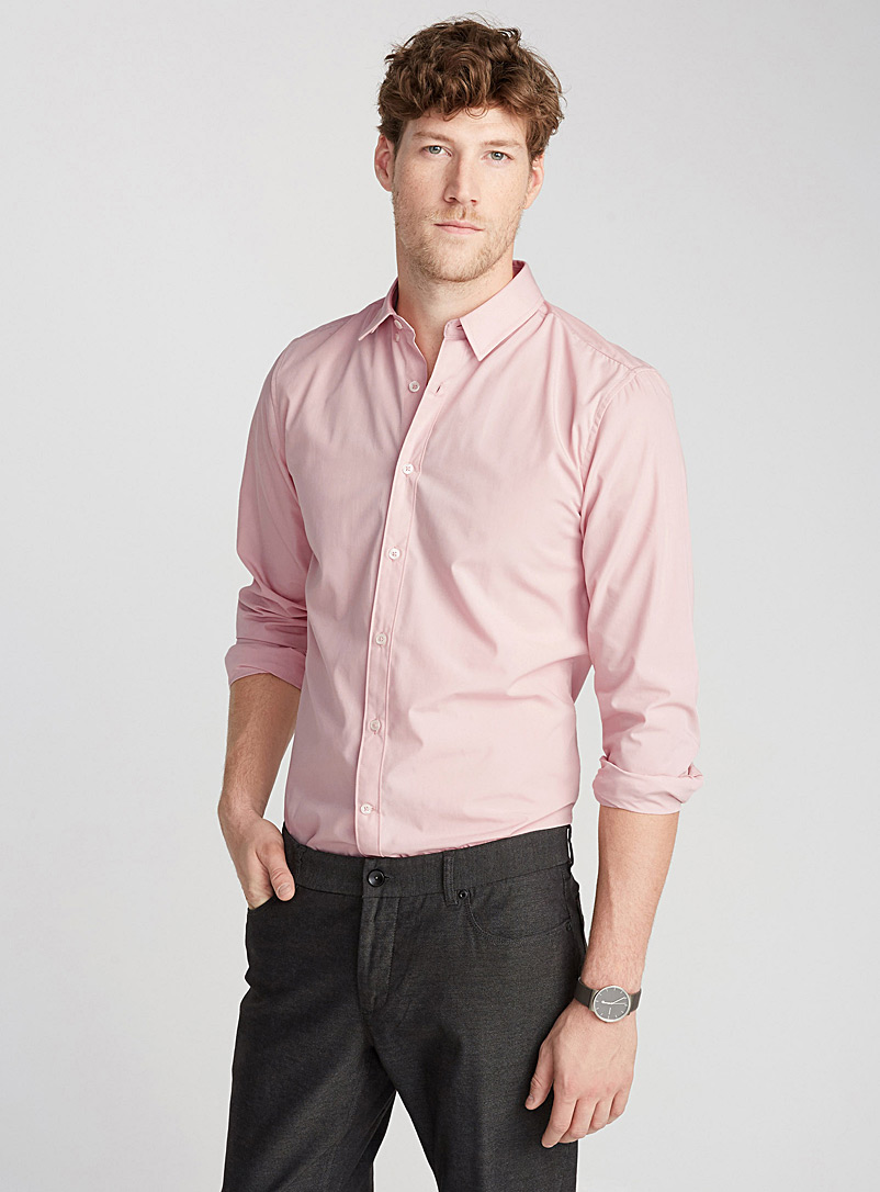 Accent cuff solid shirt  Semi-tailored fit - Solid - Peach