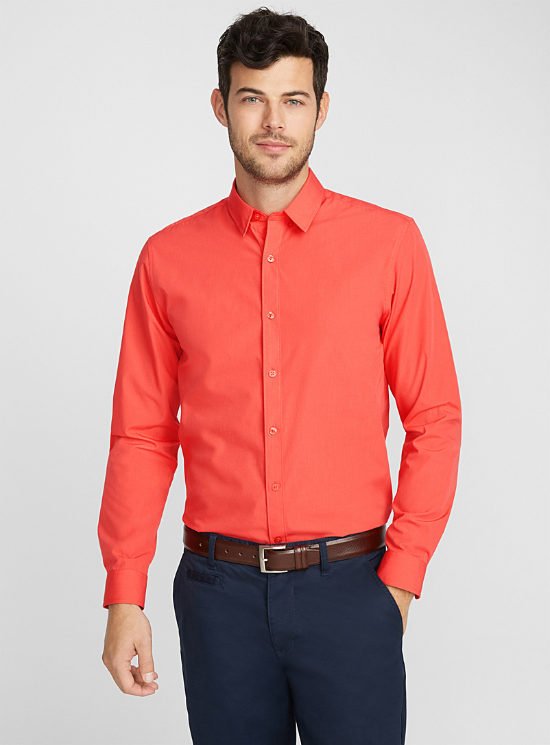 Minimalist solid shirt  Semi-tailored fit - Solid - Coral