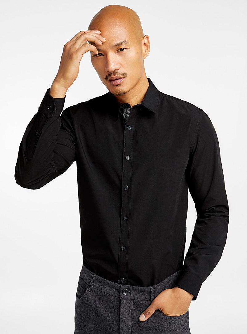 Minimalist solid shirt  Semi-tailored fit - Solid - Patterned Black